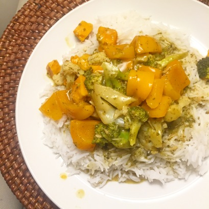 Vegetable Green Curry over Basmati