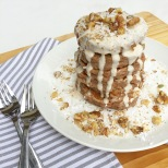 Carrot Cake Pancakes with Maple Almond Drizzle