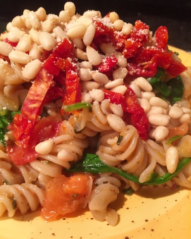 Spinach Tomato Pasta with Pine Nuts